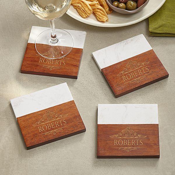 Elegant Marble Wood Coasters