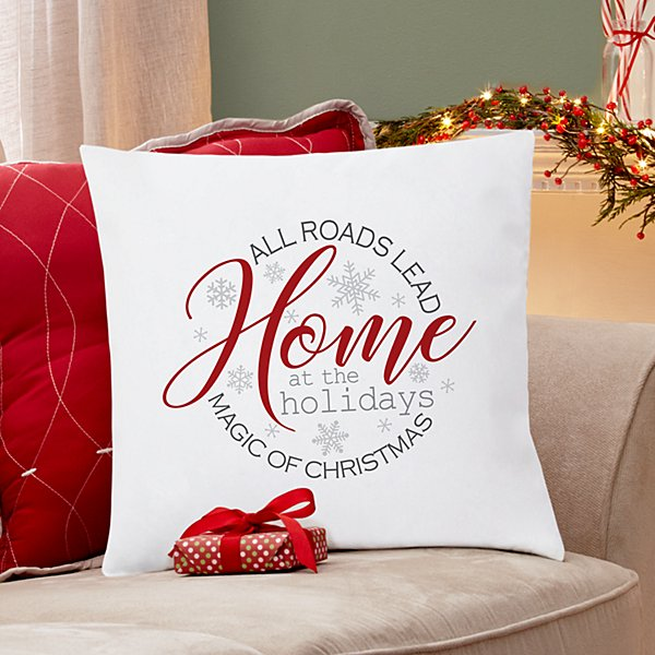 Home at the Holidays Throw Pillow