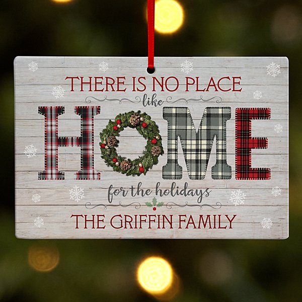 Home for the Holidays Wooden Rectangle Ornament
