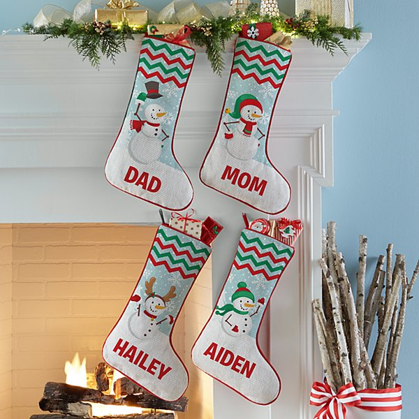 Merry Snowman Family Stocking