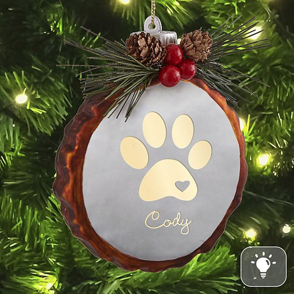 Paw Print Rustic Lighted Glass Ornament
