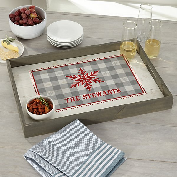 Snowflake Wishes Wood Serving Tray