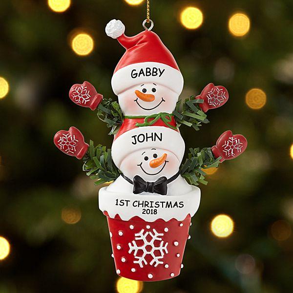 Stackable Snowman Couple Ornament