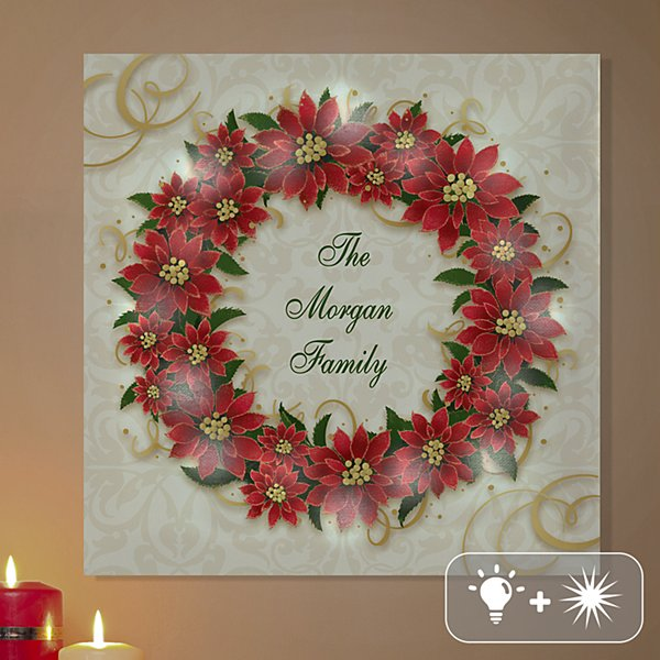 TwinkleBright® LED Poinsettia Wreath Canvas