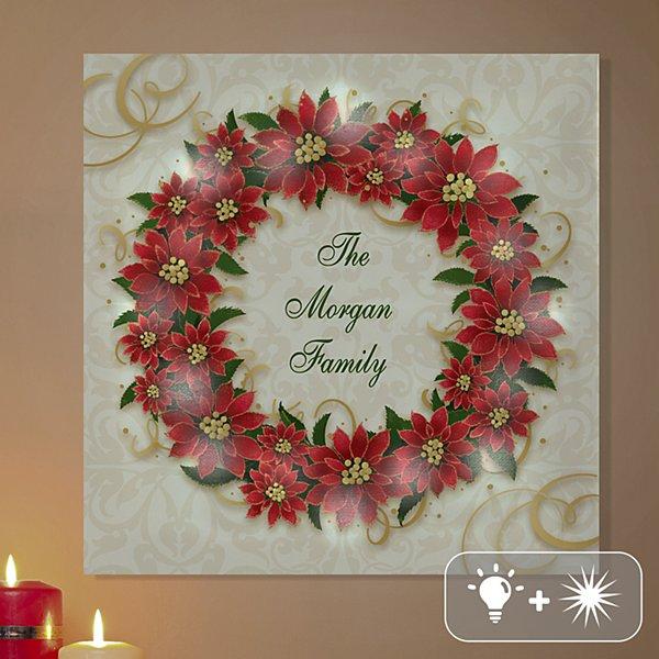 TwinkleBright® LED Poinsettia Wreath Canvas