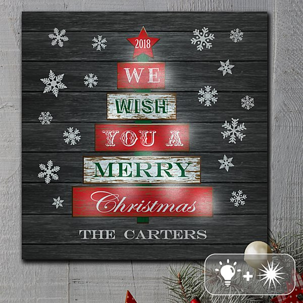 TwinkleBright® LED We Wish You A Merry Christmas Canvas