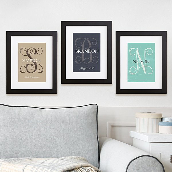 Weathered Initial Framed Print