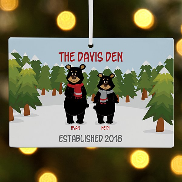 Beary Christmas Couple Wooden Rectangle Ornament
