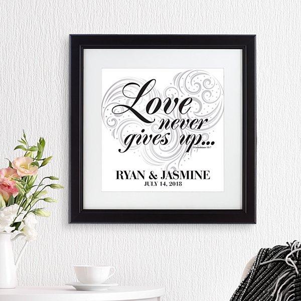 Love Never Gives Up Square Framed Print