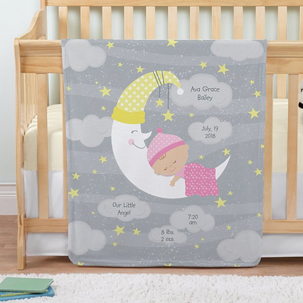 Moon & Stars Announcement Baby Blanket