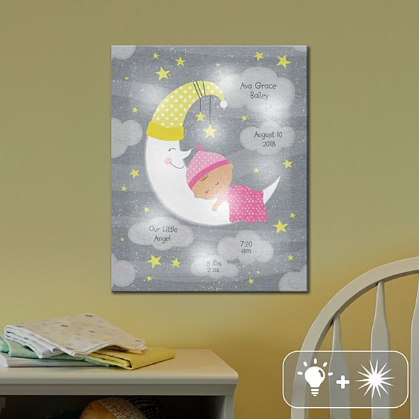 TwinkleBright® LED Moon & Stars Announcement Canvas