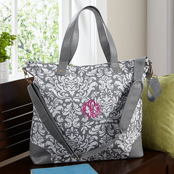 Gray Damask Embroidered  Tote Bag