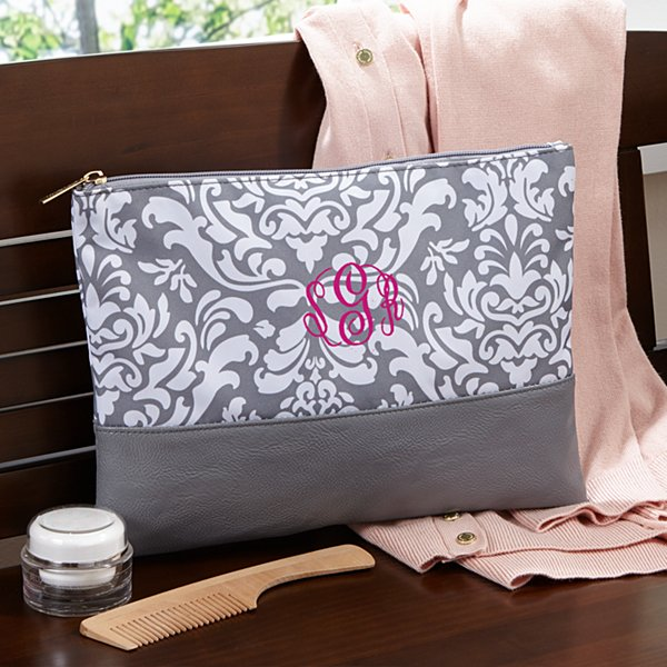 Gray Damask Embroidered Zip Pouch
