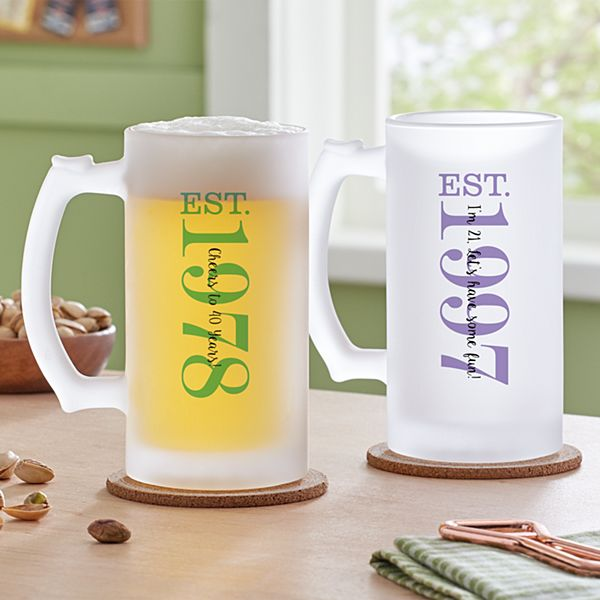 Birthday Established Frosted Beer Mug