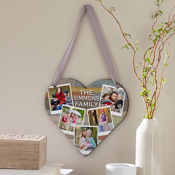 Family Love Photo Heart Plaque