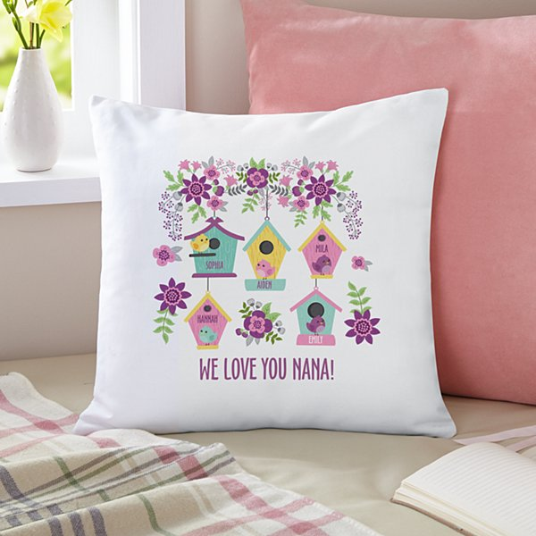Birdie Blessings Throw Pillow