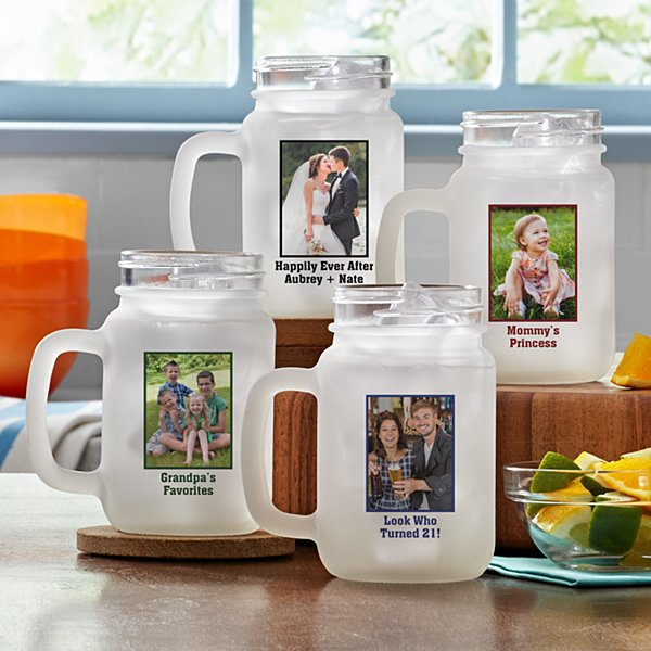 Photo Message Frosted Mason Jar