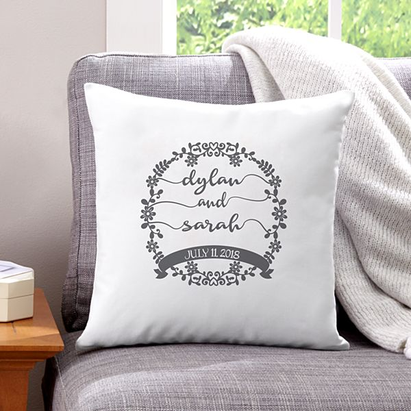 Scripted Floral Wreath Throw Pillow