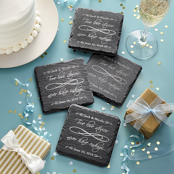 True Love Never Ends Slate Coasters