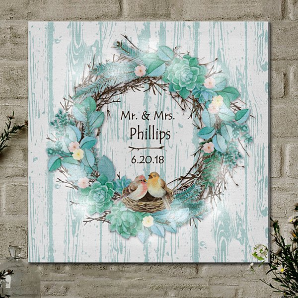 TwinkleBright® LED Nestled in Love Wreath Canvas