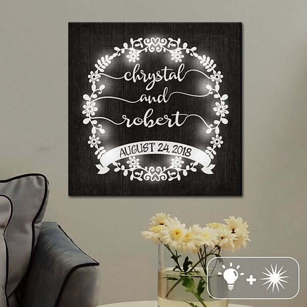TwinkleBright® LED Scripted Floral Wreath Canvas