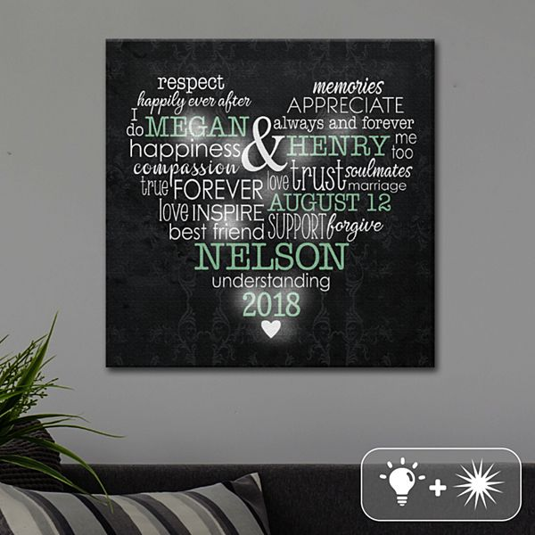 TwinkleBright® LED Words of Love Heart Canvas