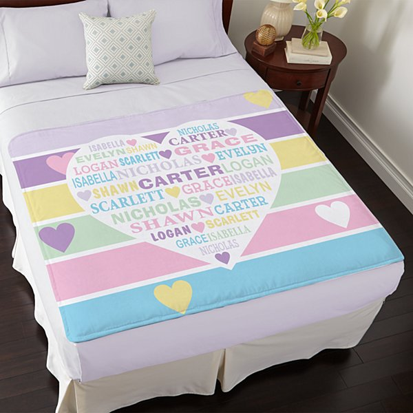 Pastel Heart Full of Love Plush Blanket