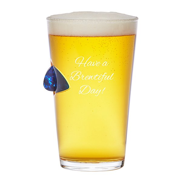 Stuck In Glass Novelty Barware - Guitar Pick Pint Glass - Script