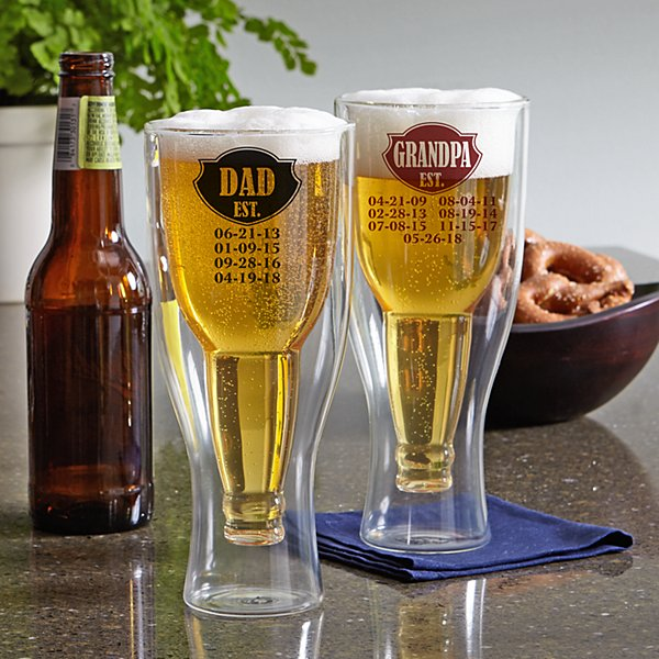 Established Bottoms Up Beer Glass