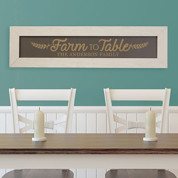Farm to Table Framed Wood Sign