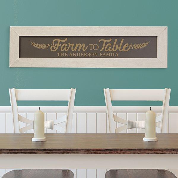 Farm to Table Framed Wood Sign