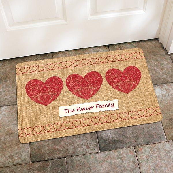 Burlap Hearts Doormat