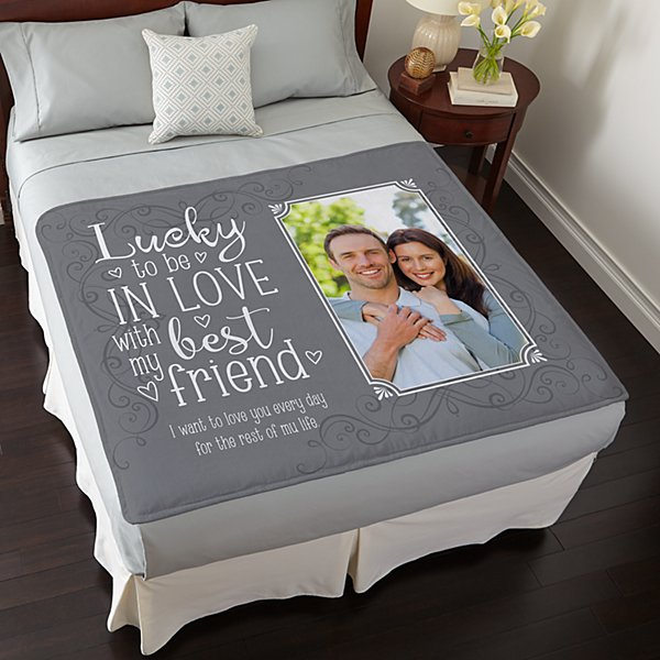 Lucky In Love Photo Plush Blanket