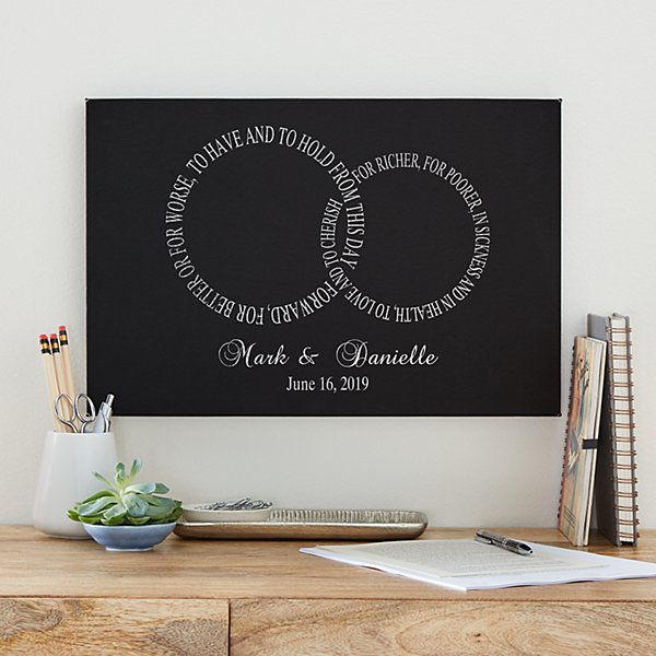 Rings of Love Wedding Leather Wall Art