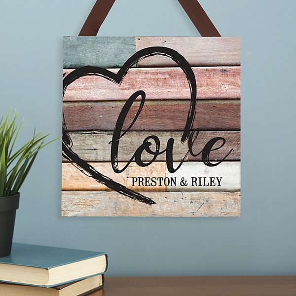 Scripted Heart Wood Plaque