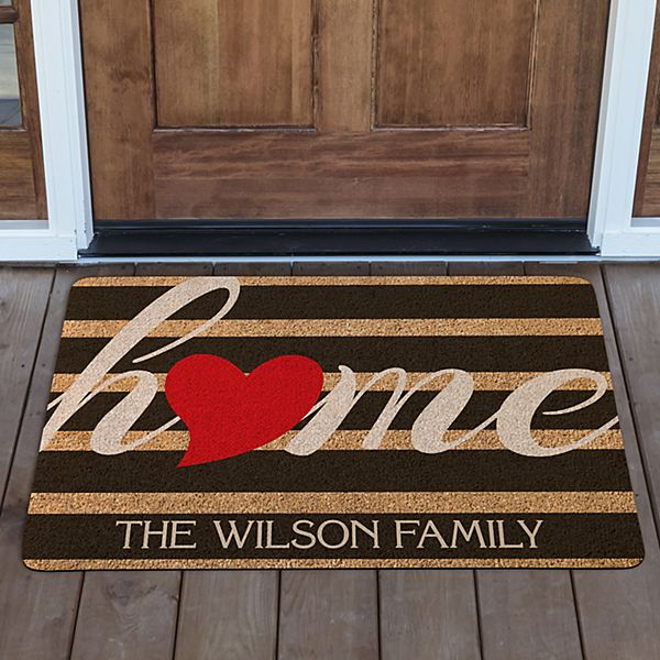 Striped Heart Home Doormat