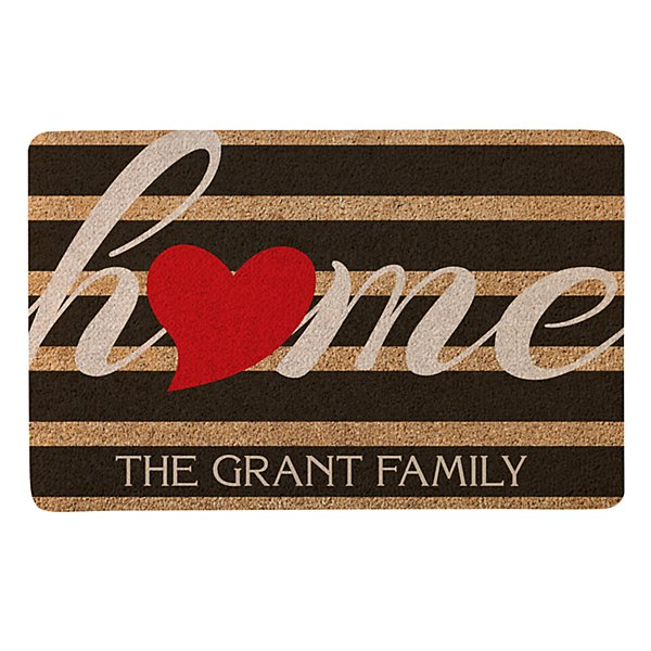 Striped Heart Home Doormat - 17x27