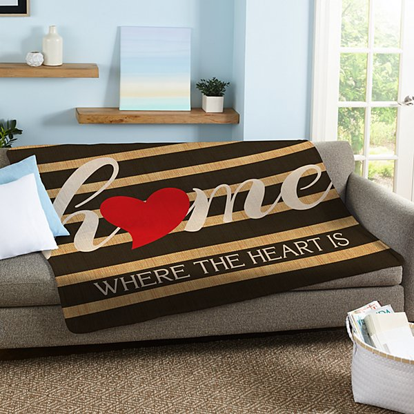 Striped Heart Home Plush Blanket