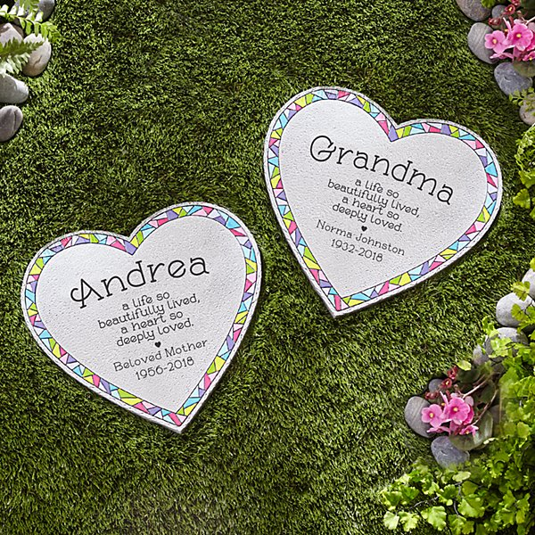 Deeply Loved Mosaic Heart Stepping Stone