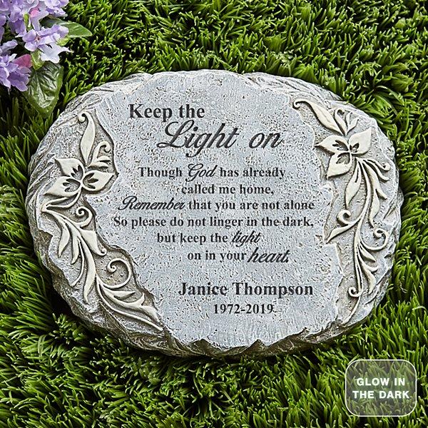 Keep The Light On Glow Garden Stone