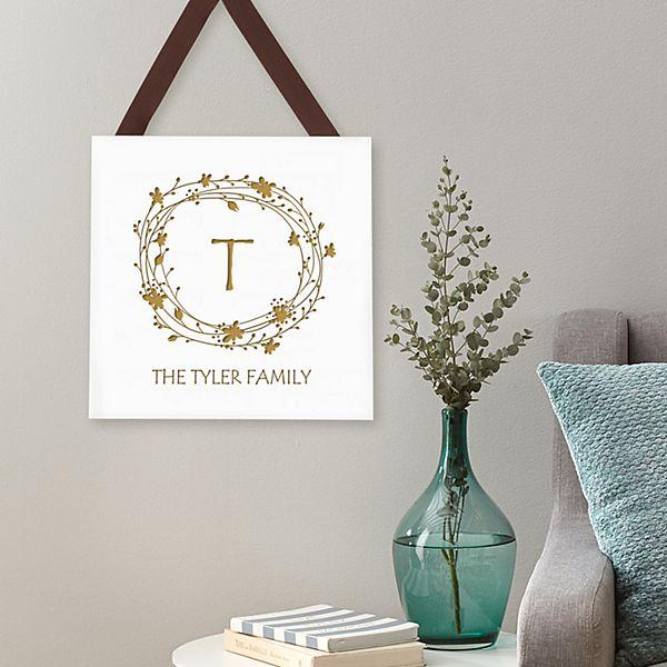 Floral Wreath Wood Plaque