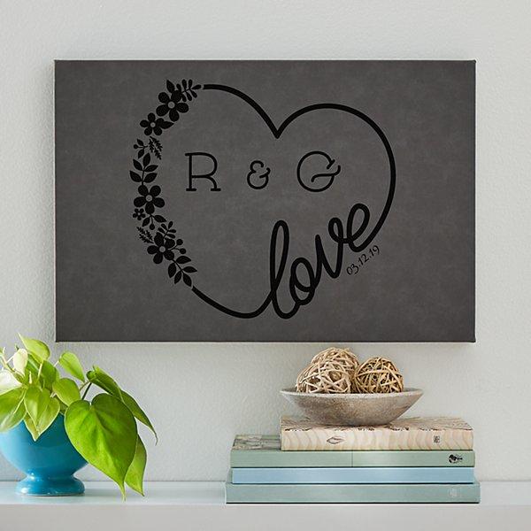 Love Wreath Leather Wall Art