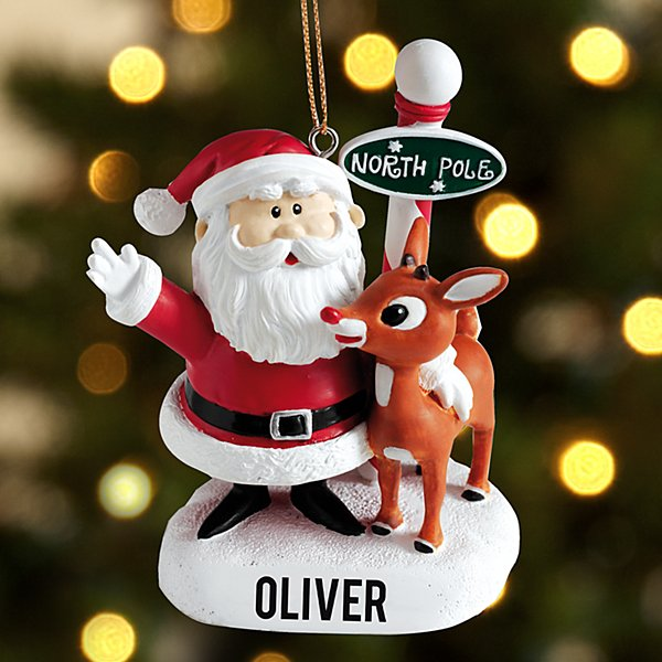 Santa and Rudolph the Red-Nosed Reindeer Ornament with Letter