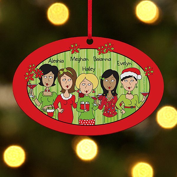 Tis The Season With The Girls Oval Ornament