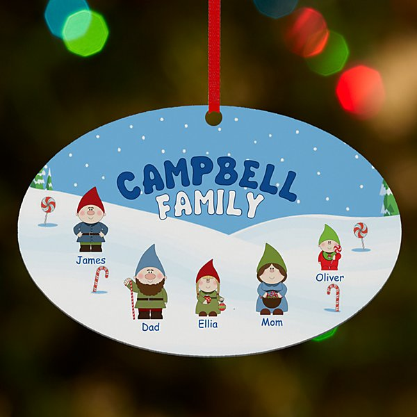 Gnome Family Oval Ornament