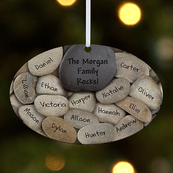Our Family Rocks Oval Ornament