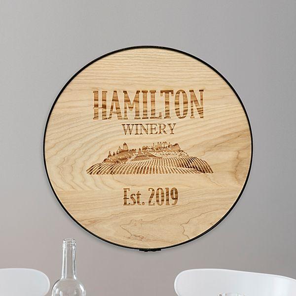Family Vineyard Wine Barrel Sign