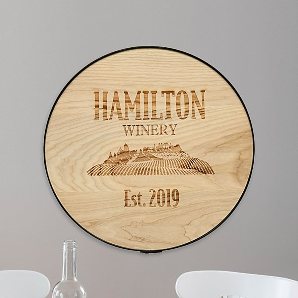 Family Vineyard Wine Barrel Sign
