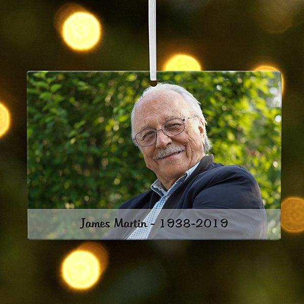 Memorial Photo Message Rectangle Ornament