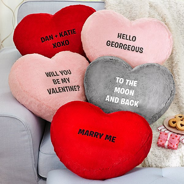 Plush Heart Message Pillow